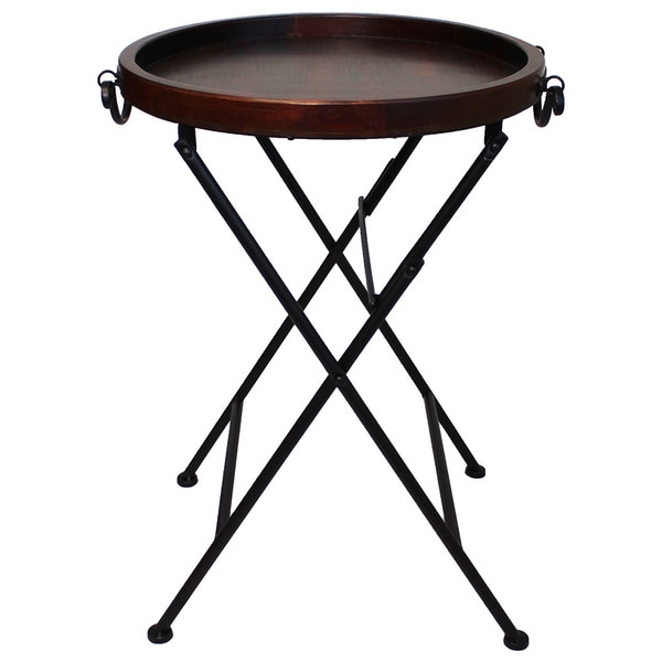 Carter Classic Metal Wood Tray Table