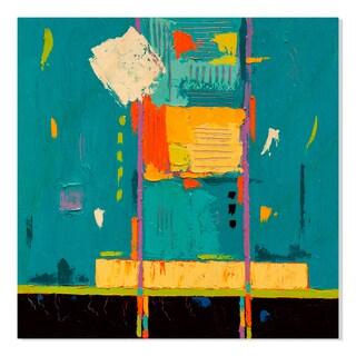 Gallery Direct Ok Blue Print on Birchwood Wall Art