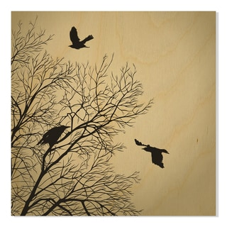 Gallery Direct Crows Print on Birchwood Wall Art