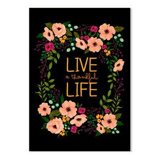 Gallery Direct Live a Thankful Life Floral Wreath Print on Birchwood Wall Art