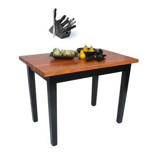 John Boos Cherry RN-C4824 Butcher Block Table and Bonus 13-piece Henkels Knife Set