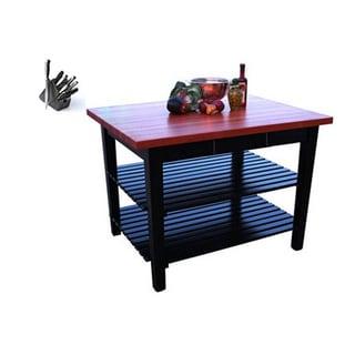 John Boos RN-C4824-D-2S Le Classique 48x24 Cherry Butcher Block Table with Drawer / Shelves & Bonus 13-piece J.A. Henkels Knife