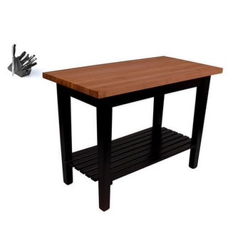 John Boos RN-C4824-S Le Classique 48 x 24-inch Cherry Butcher Block Table with Shelf, and J. A. Henckles 13-piece Knife Set