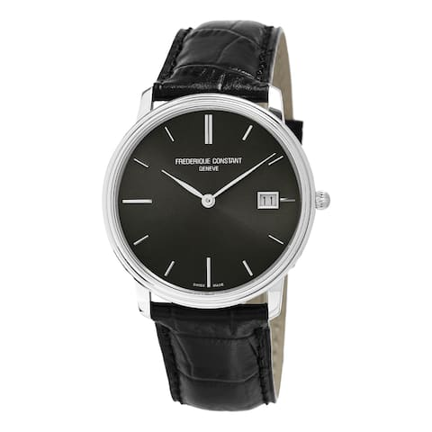 Frederique Constant Men's FC-220NG4S6 'Slim Line' Black Dial Black Leather Strap Swiss Quartz Watch