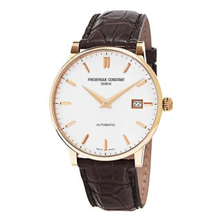Frederique Constant Men's FC-316V5B9 'Slim Line' Silver Dial Brown Leather Strap Rose Gold Swiss Automatic Watch