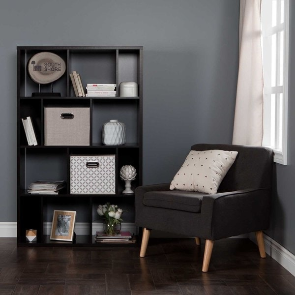 shop south shore reveal 12 cube shelving unit with 2 fabric storage baskets free shipping. Black Bedroom Furniture Sets. Home Design Ideas
