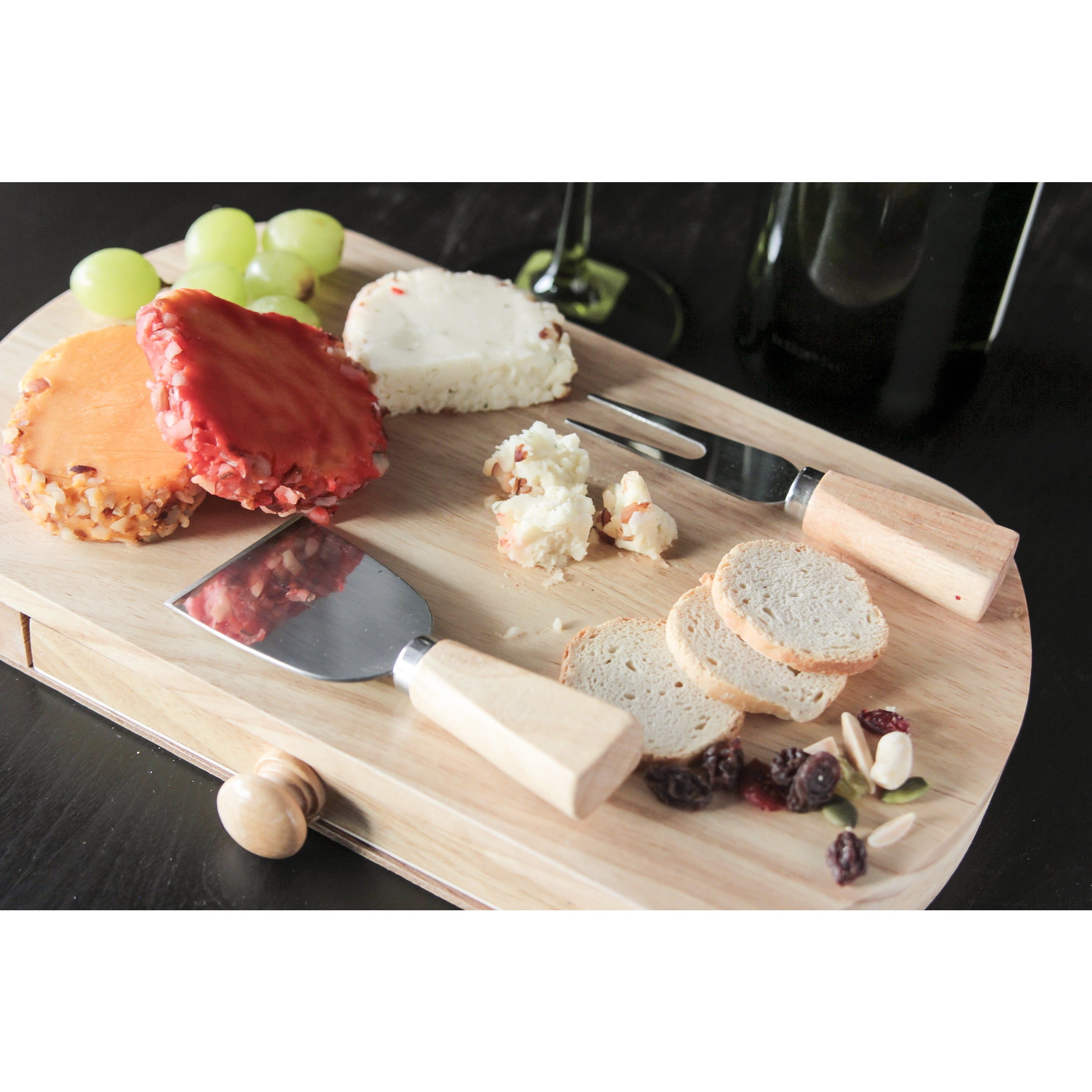 Cheese Board with Slide Out Drawers (wood), Silver stainl...