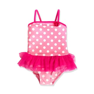 Jump'N Splash Small Girls' Pink Polka Dot Tutu One Piece