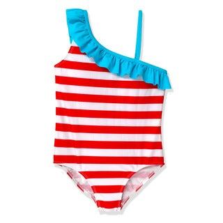 Jump'N Splash Girls' Red Stripe One shoulder One Piece
