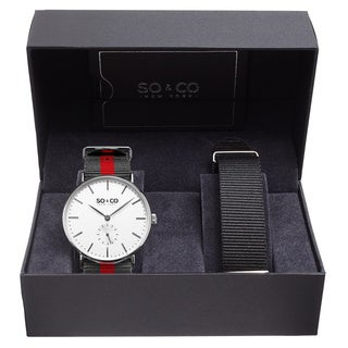 SO&CO New York Men's Quartz Canvas Interchangeable Straps Watch Set
