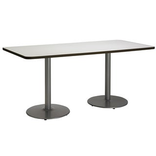 36 x 72-inch Pedestal Table with Round Silver Bases