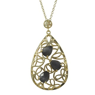 Luxiro Sterling Silver Gold Finish Cubic Zirconia and Gemstone Teardrop Pendant Necklace