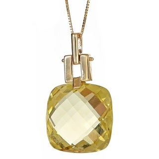 Anika and August 14k Yellow Gold Lemon Quartz Pendant