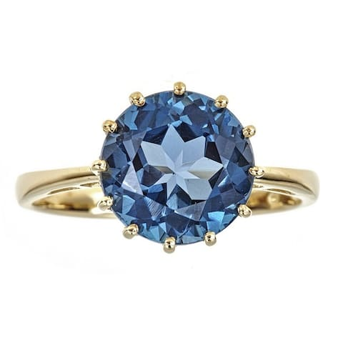 Anika and August 10k Yellow Gold Round-cut London Blue Topaz Ring