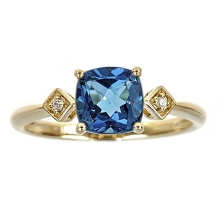 Anika and August 10k Yellow Gold Cushion-cut London Blue Topaz and Diamond Accent Ring (G-H, I1-I2)
