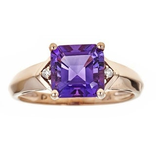 Anika and August 10k Rose Gold Emerald-Cut Amethyst and Diamond Ring Size 7