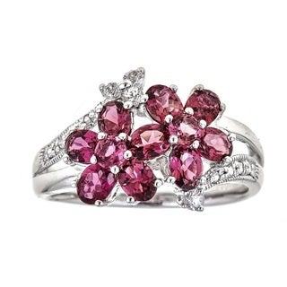 Anika and August Sterling Silver Pink Tourmaline and White Sapphire Dual Flower Ring