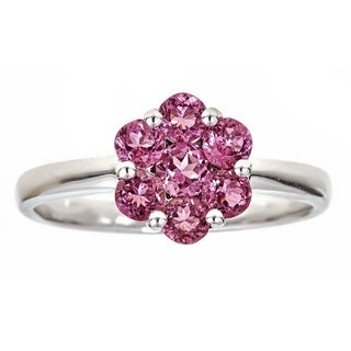 Anika and August Sterling Silver Round Pink Tourmaline Ring