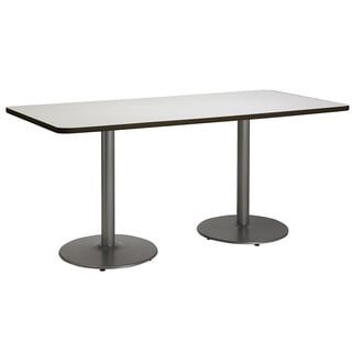 30 x 72-inch Pedestal Table with Round Silver Bases