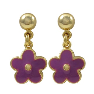 Luxiro Gold Finish Enamel Flower Girls Dangle Earrings