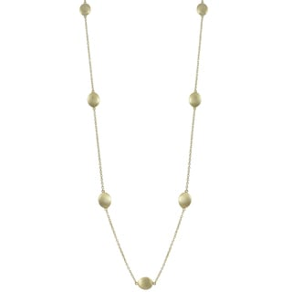Luxiro Brushed Gold Finish Oval Coin Necklace