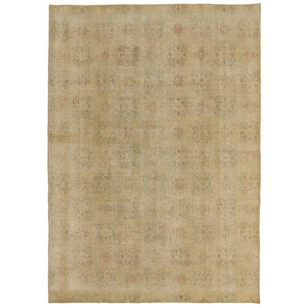 ecarpetgallery Anatolian Sun Wash Yellow Wool Rug - 6'10 x 9'9