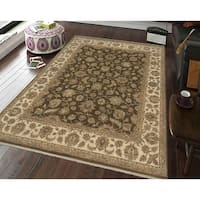 Bethany Brown/ Beige Traditional Hand-knotted Rug - 2' x 3'