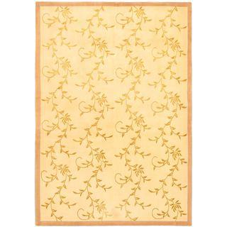 ecarpetgallery Silk Touch Yellow Wool/ Silk Rug (6'5 x 9'1)