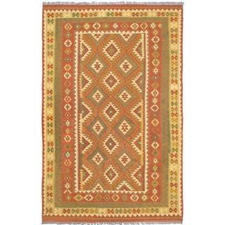 ecarpetgallery Izmir Kilim Brown Wool Kilim (6'7 x 10'2)