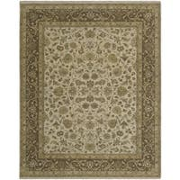 Bethany Beige/ Brown Traditional Hand-knotted Rug - 2' x 3'