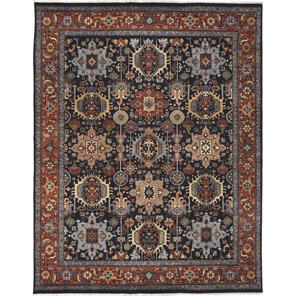 Bethany Navy/ Rust Traditional Hand-knotted Rug - 2' x 3'