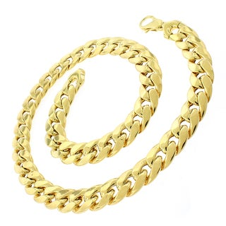 .925 Sterling Silver Yellow Gold Plated Hollow Miami Cuban Curb Link Chain 15.5 mm Necklace
