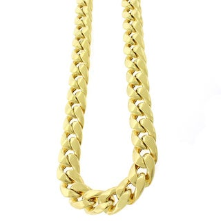 Goldplated Sterling Silver Hollow Miami Cuban Curb 12.5 mm Link Necklace Chain
