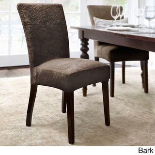 QuickCover Damask Embossed Stretch Velvet 1-Piece Dining Chair Slipcover