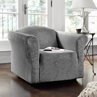 QuickCover Damask Embossed Stretch 1-Piece Chair Slipcover