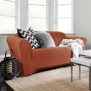 Harlow Stretch Suede 1-Piece Loveseat Slipcover