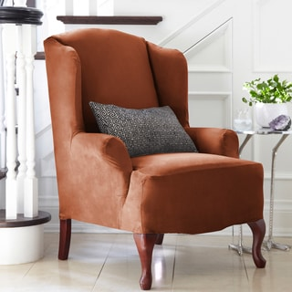 Harlow Stretch Suede 1-Piece Wing Chair Slipcover