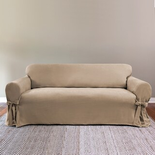 Suede 1-Piece with Ties Loveseat Slipcover