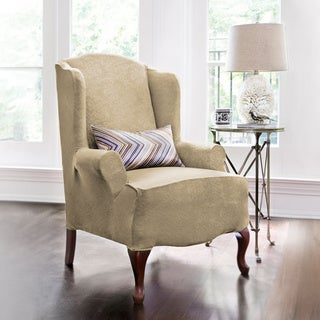 Damask Embossed Stretch 1-Piece Wing Chair Slipcover