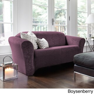 QuickCover Damask Stretch Loveseat Slipcover (Option: Purple)