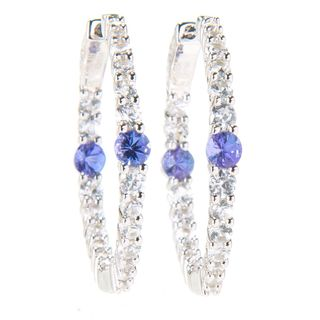 Sterling Silver Tanzanite and White Zircon 1-inch Hoop Earrings
