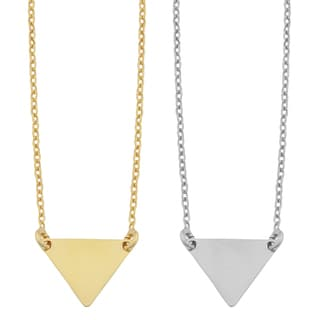 Fremada Sterling Silver Chevron Triangle Adjustable Length Necklace (yellow or white)