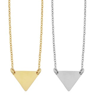 Fremada Sterling Silver Chevron Triangle Adjustable Length Necklace (yellow or white) (2 options available)