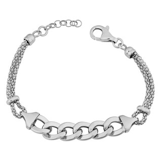 Fremada Rhodium Plated Sterling Silver Stylish Curb Link and Popcorn Chain Adjustable Length Bracelet