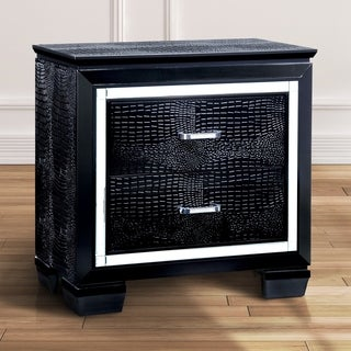 Furniture of America Tallone Contemporary Crocodile Textured 2-drawer Nightstand