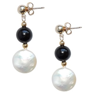 Coin Pearl and Onyx Earrings
