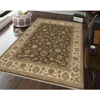 Bethany Brown/ Beige Traditional Hand-knotted Rug (6' x 9')