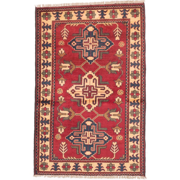 ecarpetgallery Finest Kargahi Red Wool Rug (3'5 x 5'4) - 3'5 x 5'4
