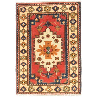 ecarpetgallery Finest Kargahi Red/ Yellow Wool Rug (2'10 x 4'1)