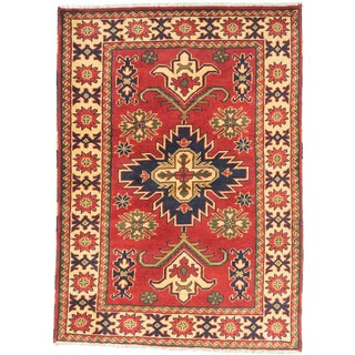 ecarpetgallery Finest Kargahi Red/ Yellow Wool Rug (3'5 x 4'10)